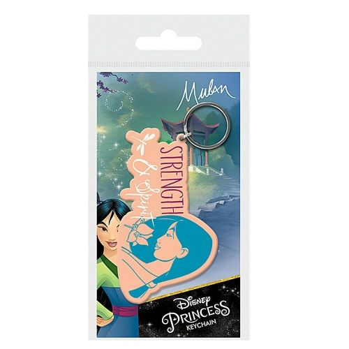 Disney Mulan Strength and Spirit Keyring Rubber Keychain Fob